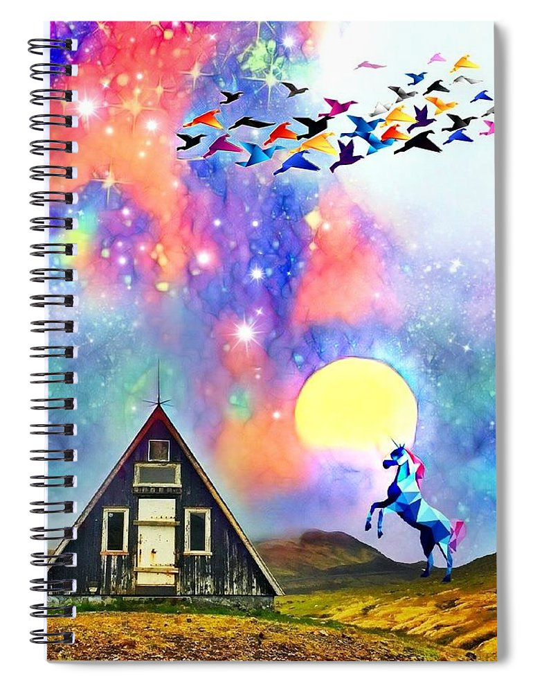 Spiral Notebook featuring the digital art Abode of the Artificial-Dreamer Zero by Sureyya Dipsar