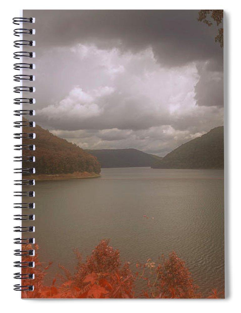 #kinzua #pennsylvania #jaw_dropping_shots #hdr #highdynamicrange #skylum #aurorahdr2019 #water #autumn #fall #fourseasons #lake #swimming #boating #fishing #travel #scenic #warmth #picoftheday #imageoftheday #photo #alleghenyriver #kinzuadam #jimlepardigitalmaging.com #visitpa #wanderlust #adventure #explore #roadtrip Spiral Notebook featuring the photograph Above The Kinzua Dam by Jim Lepard
