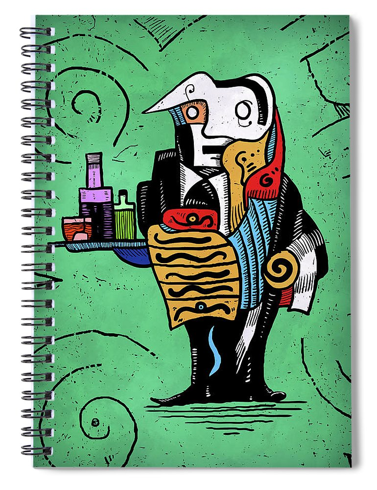 Surreal Spiral Notebook featuring the painting Absinthe by Sotuland Art