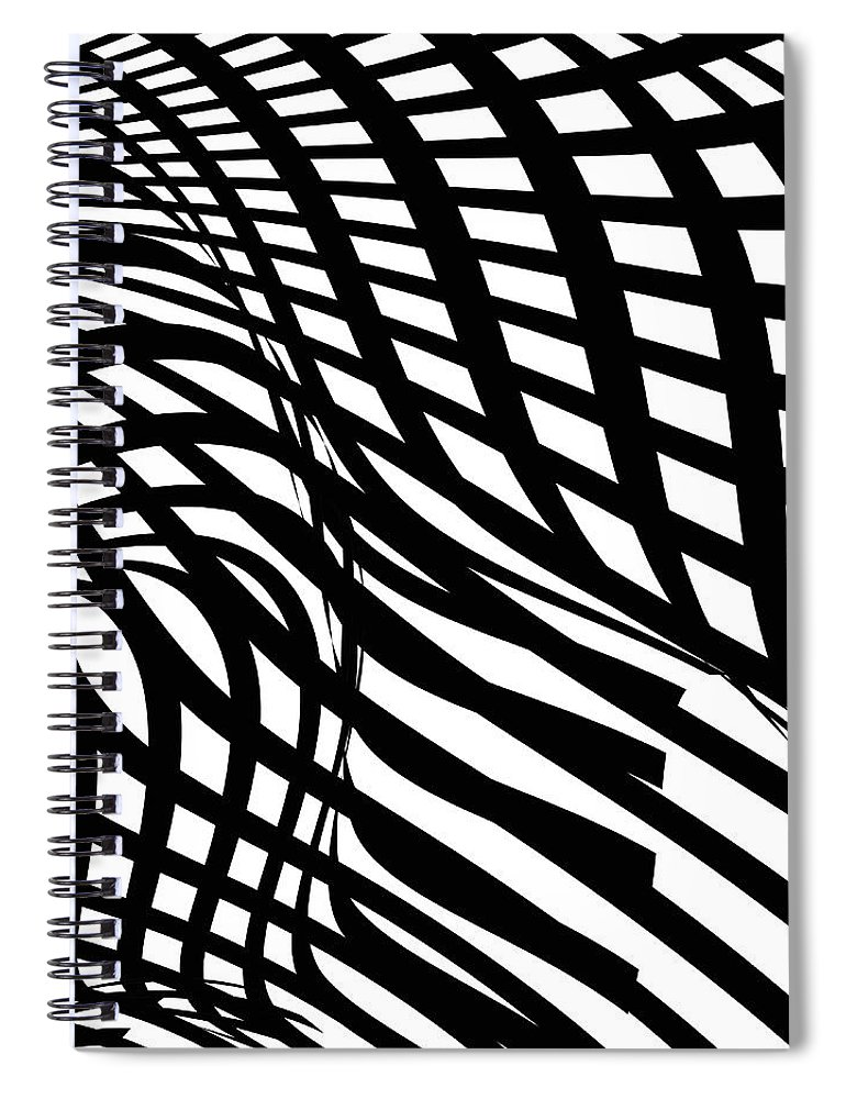 Curve Spiral Notebook featuring the digital art Abstract Black And White Stripe Shape by Shuoshu