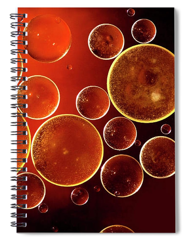 Black Color Spiral Notebook featuring the photograph Abstract Red Bubbles by Zeljkosantrac