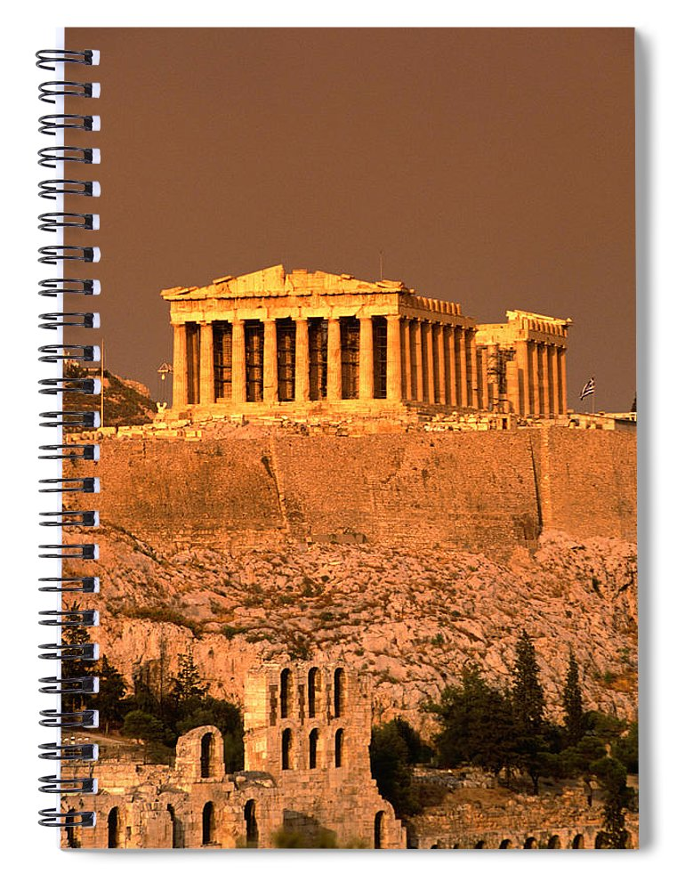 Greek Culture Spiral Notebook featuring the photograph Acropolis And Parthenon From Filopappou by Lonely Planet