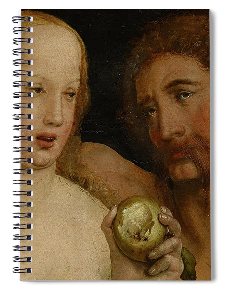 Holbein Spiral Notebook featuring the painting Adam And Eve, 1517 by Hans Holbein the Younger