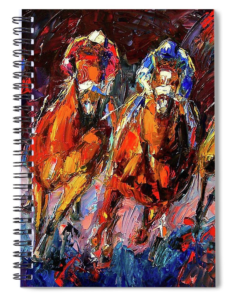 Horse Race Spiral Notebook featuring the painting Adrenalin by Debra Hurd