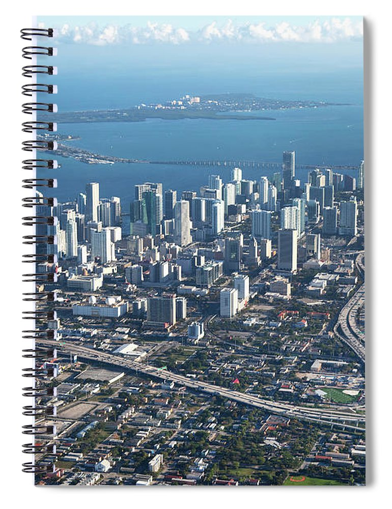 Outdoors Spiral Notebook featuring the photograph Aerial View Of Miami by Buena Vista Images
