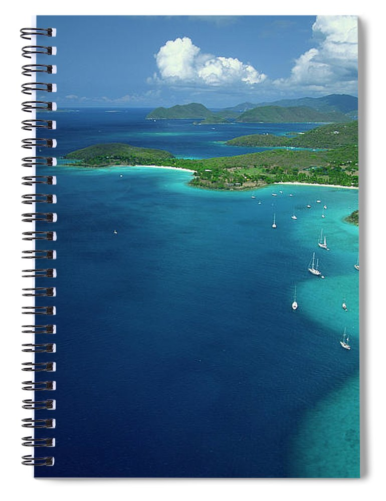 Sailboat Spiral Notebook featuring the photograph Aerial View Of Shoreline by Don Hebert