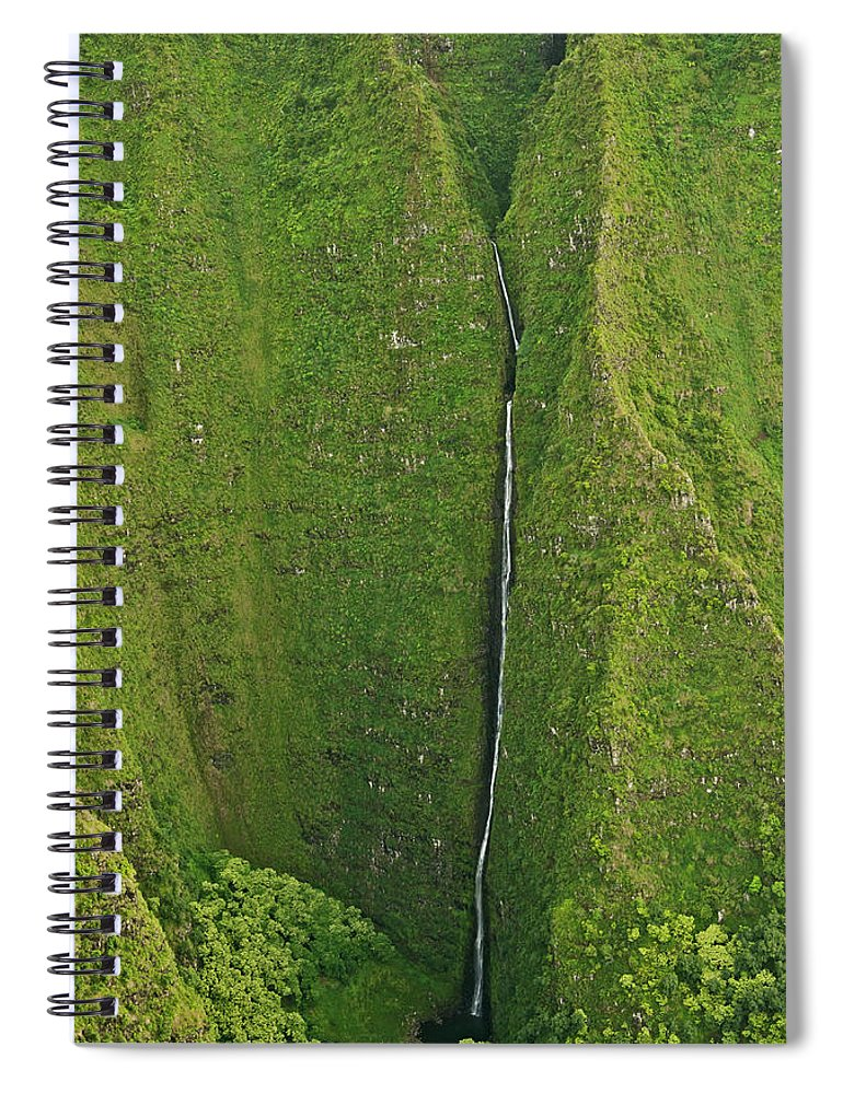 Scenics Spiral Notebook featuring the photograph Aerial View Of Waterfall In Narrow by Enrique R. Aguirre Aves