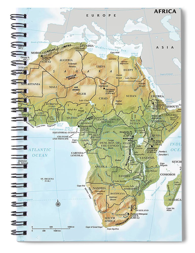 Topography Spiral Notebook featuring the digital art Africa Continent Map With Relief by Globe Turner, Llc