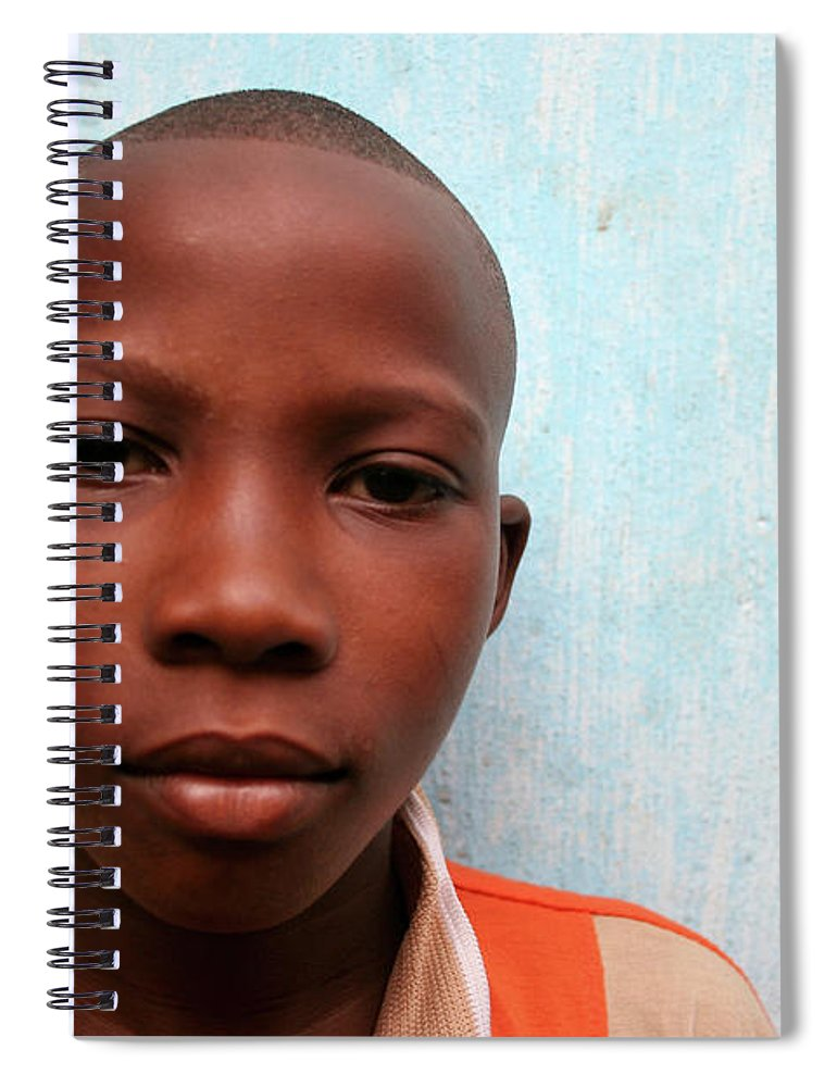 Education Spiral Notebook featuring the photograph African Boy by Peeterv