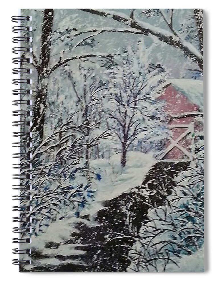 Landscape Spiral Notebook featuring the painting After Math by Ken Farnsworth