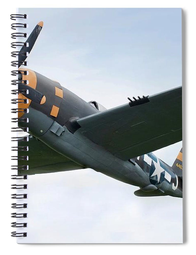 Air Attack Spiral Notebook featuring the photograph Airplane P-47 Thunderbolt From World by Okrad
