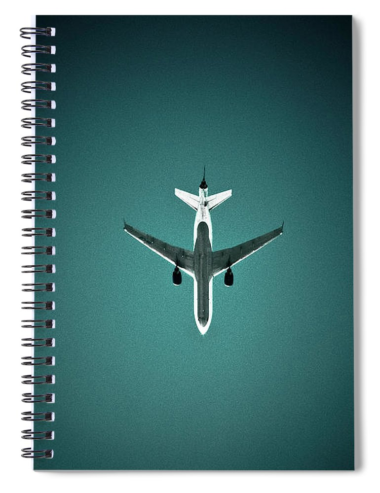 Outdoors Spiral Notebook featuring the photograph Airplane Silhouette by Miikka S Luotio