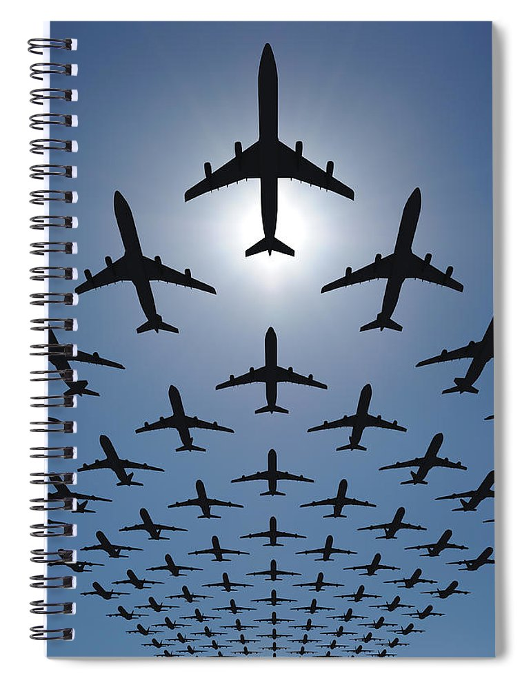 Expertise Spiral Notebook featuring the photograph Airplane Silhouettes Fly In V Formation by Georgo