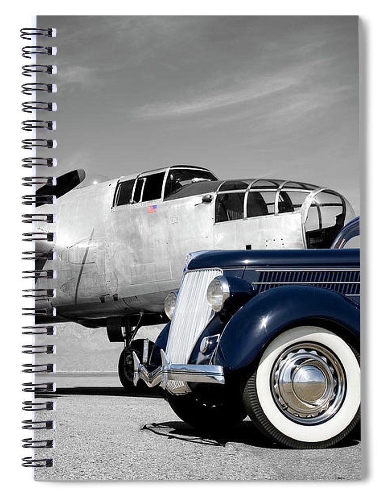 Propeller Spiral Notebook featuring the photograph Airplanes And Cars by Sierrarat
