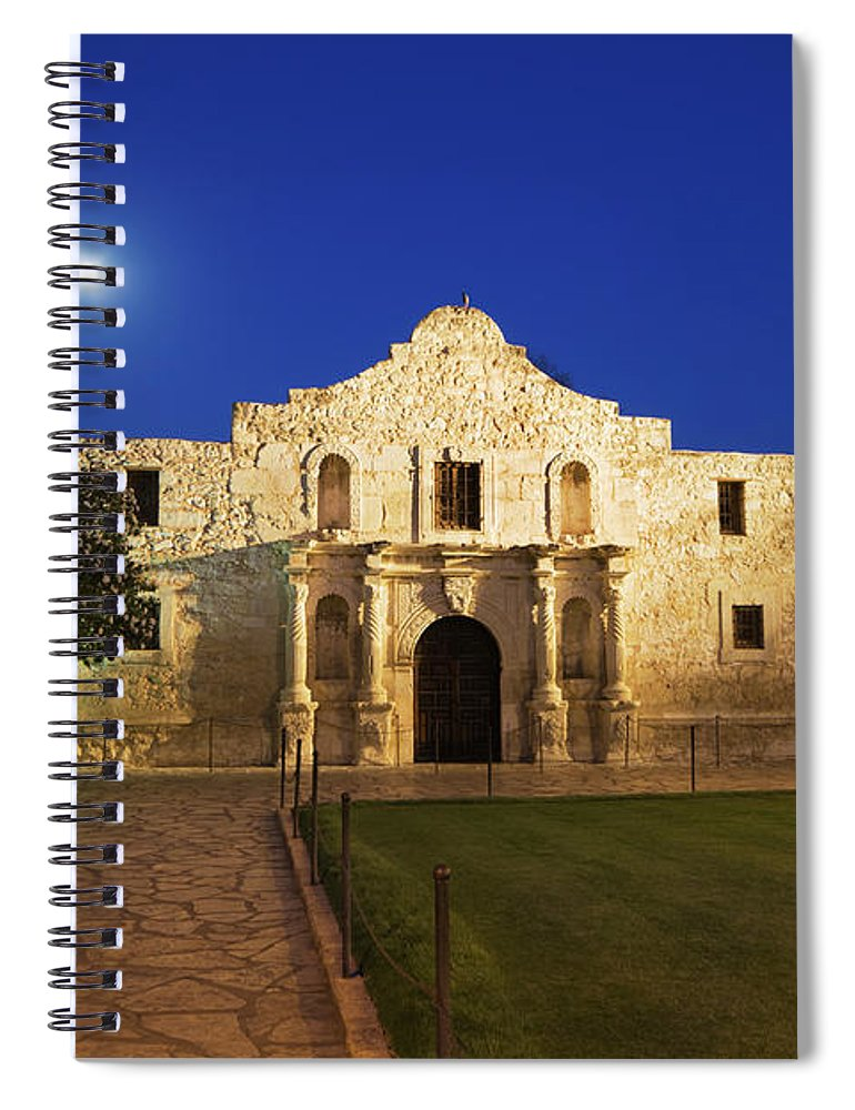 War Spiral Notebook featuring the photograph Alamo Mission, San Antonio, A Famous by Yinyang
