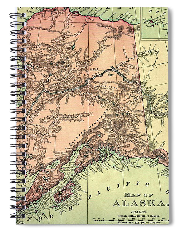 Engraving Spiral Notebook featuring the digital art Alaska Old Map by Nicoolay