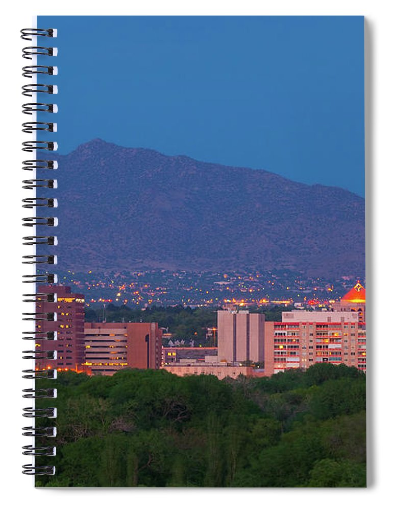 Downtown District Spiral Notebook featuring the photograph Albuquerque Skyline At Dusk by Davel5957