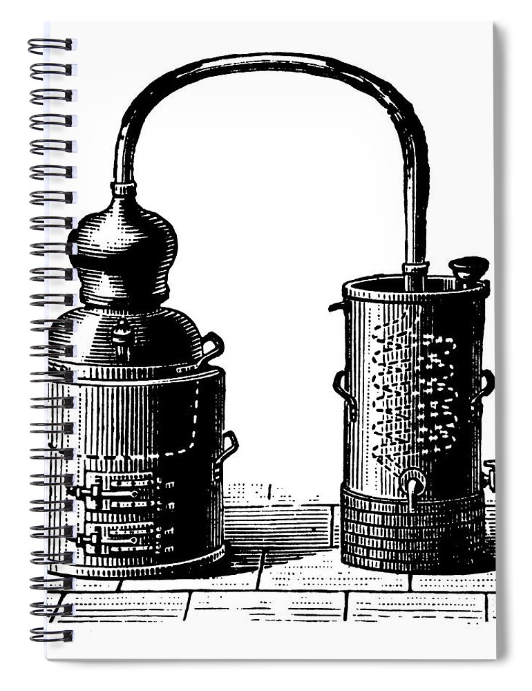 Engraving Spiral Notebook featuring the digital art Alembic | Antique Design Illustrations by Nicoolay