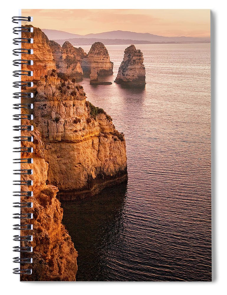 Algarve Spiral Notebook featuring the photograph Algarve Coastline, Lagos, Portugal by Zu Sanchez Photography
