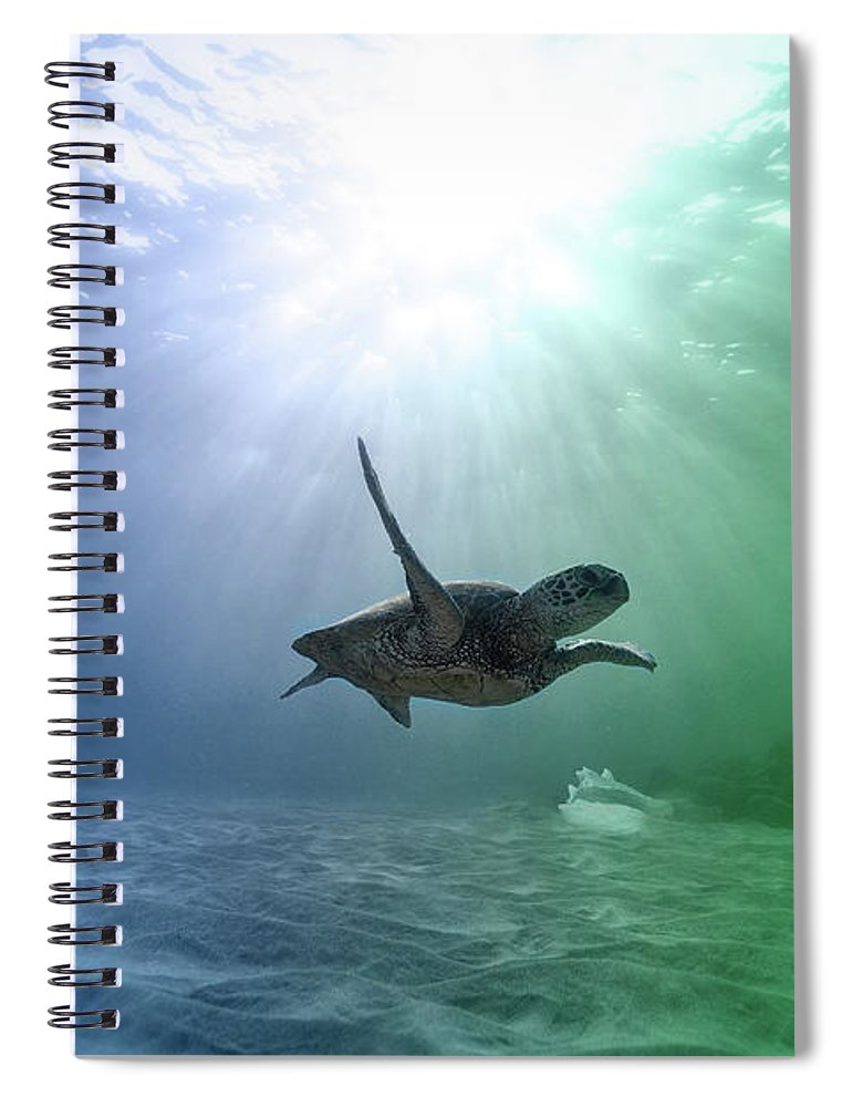 Underwater Spiral Notebook featuring the photograph All Alone But Oh So Happy by Johanna Hurmerinta