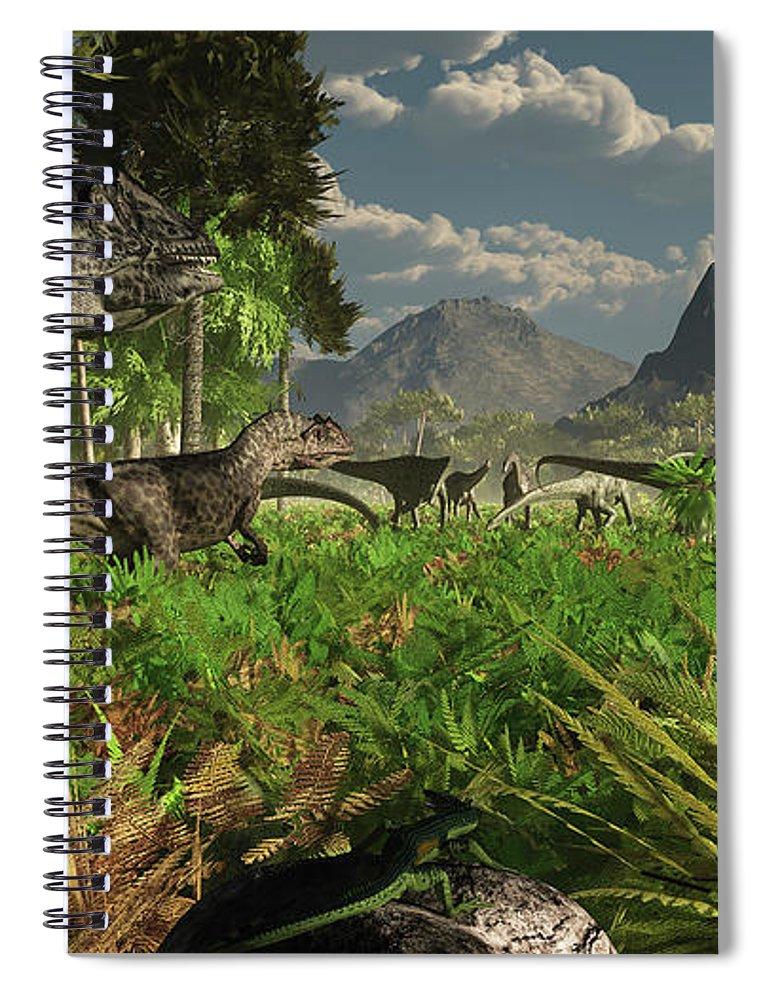 Toughness Spiral Notebook featuring the digital art Allosaurus And Diplodocus Dinosaurs by Arthur Dorety/stocktrek Images