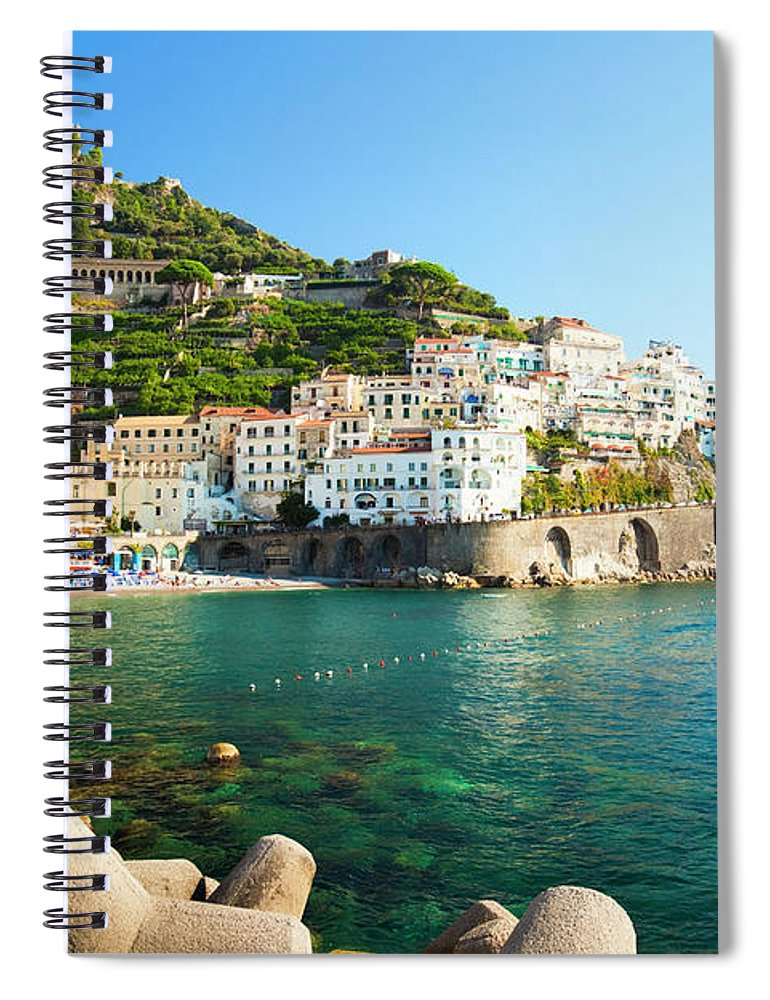 Tyrrhenian Sea Spiral Notebook featuring the photograph Amalfi Coast, Italy by Brzozowska
