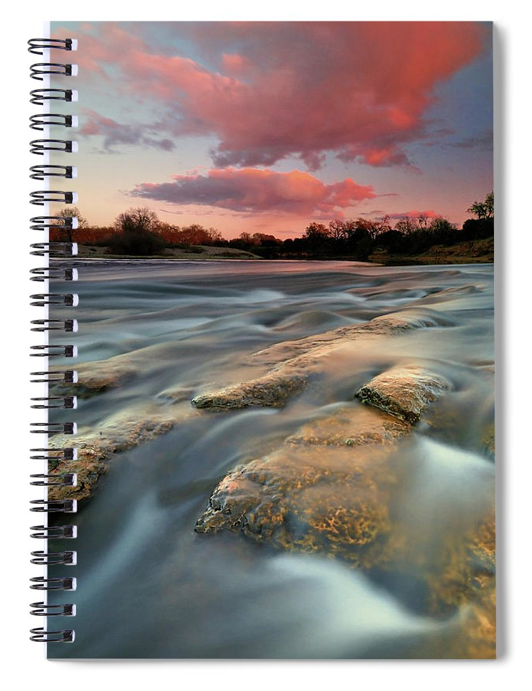 Scenics Spiral Notebook featuring the photograph American River Parkway At Sunset by David Kiene