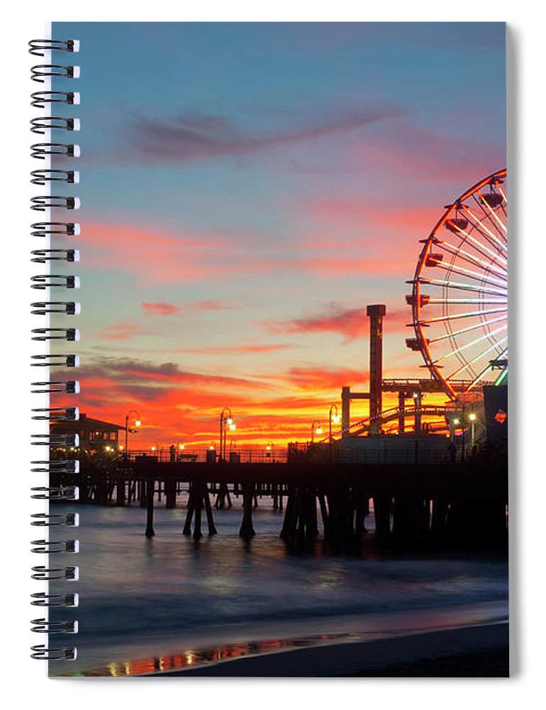 Scenics Spiral Notebook featuring the photograph Amusement Park On Waterfront At Night by Blend Images/pete Saloutos