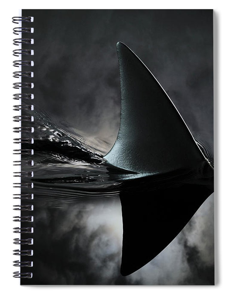 Risk Spiral Notebook featuring the photograph An Image Of A Shark Fin Against Moon by Jonathan Knowles