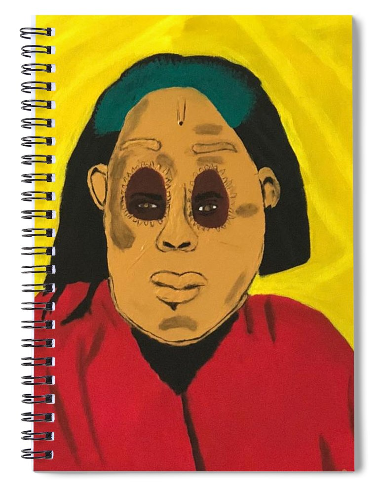 African Spiral Notebook featuring the painting Ancestral Spirit by Sonye Locksmith