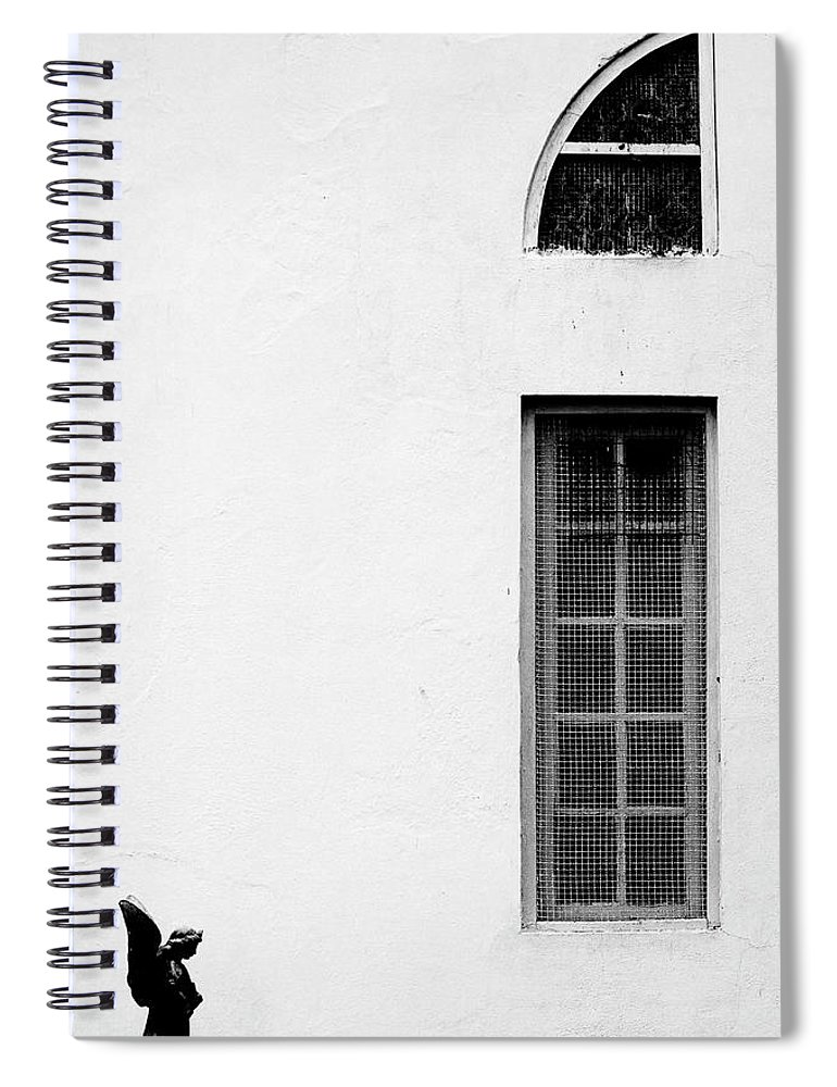 Statue Spiral Notebook featuring the photograph Angel Statue In Front Of A Wall by Win-initiative/neleman