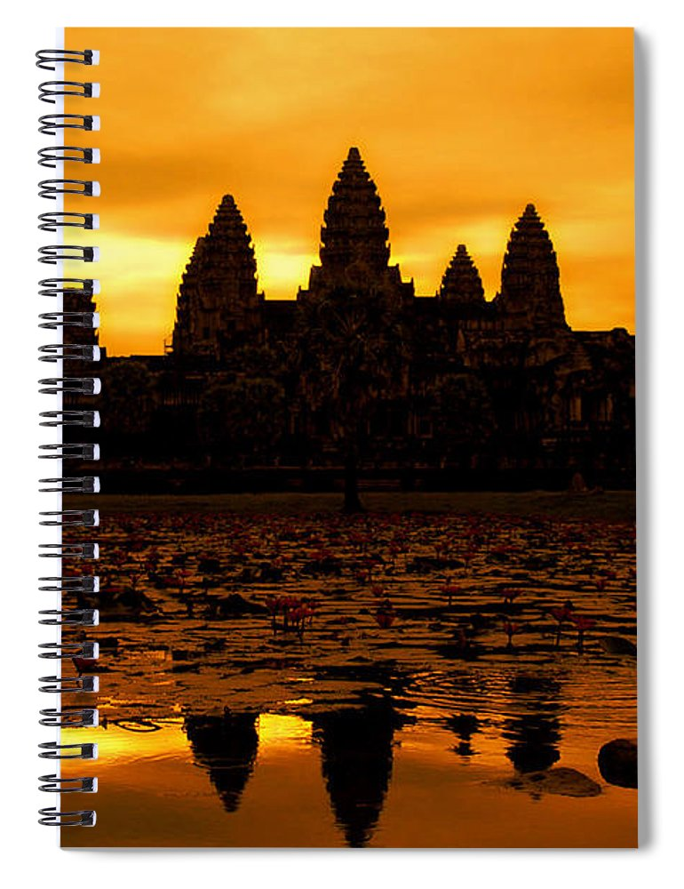 Cambodian Culture Spiral Notebook featuring the photograph Angkor Wat At Sunrise by David Lazar