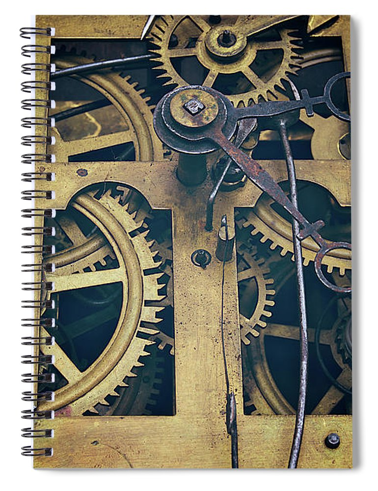 Gear Spiral Notebook featuring the photograph Antique Clock Gears, Cog And Parts by Melissa Ross
