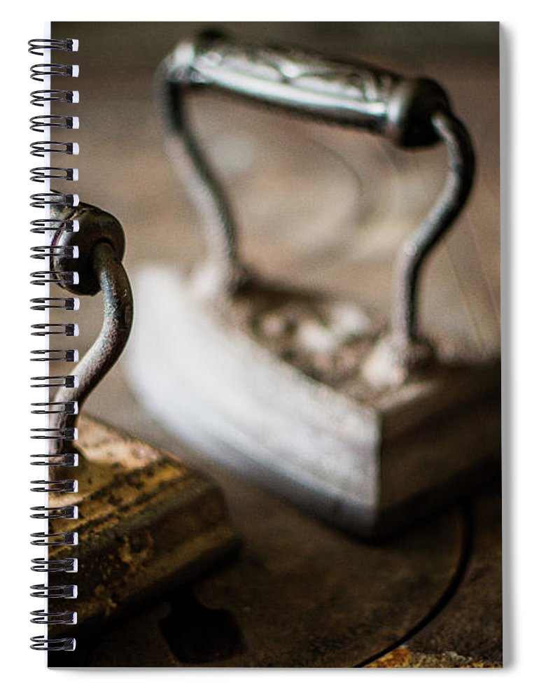 Two Objects Spiral Notebook featuring the photograph Antique Irons by Jimss