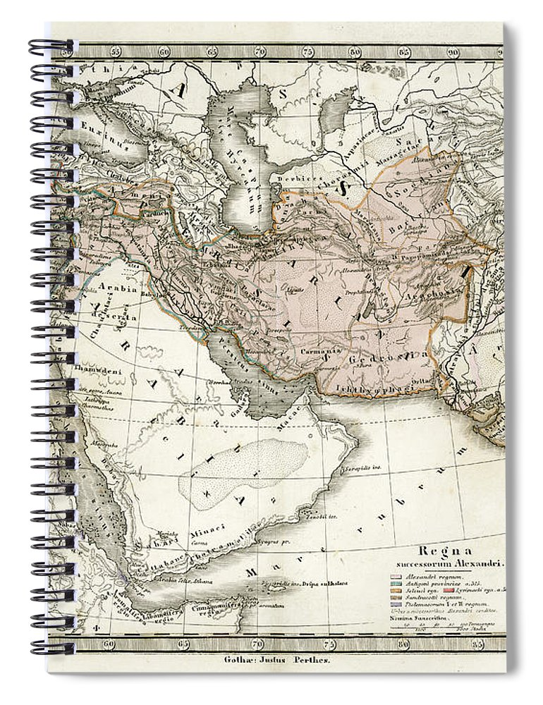 Arabia Spiral Notebook featuring the digital art Antique Map Of Alexander The Greats by Duncan1890