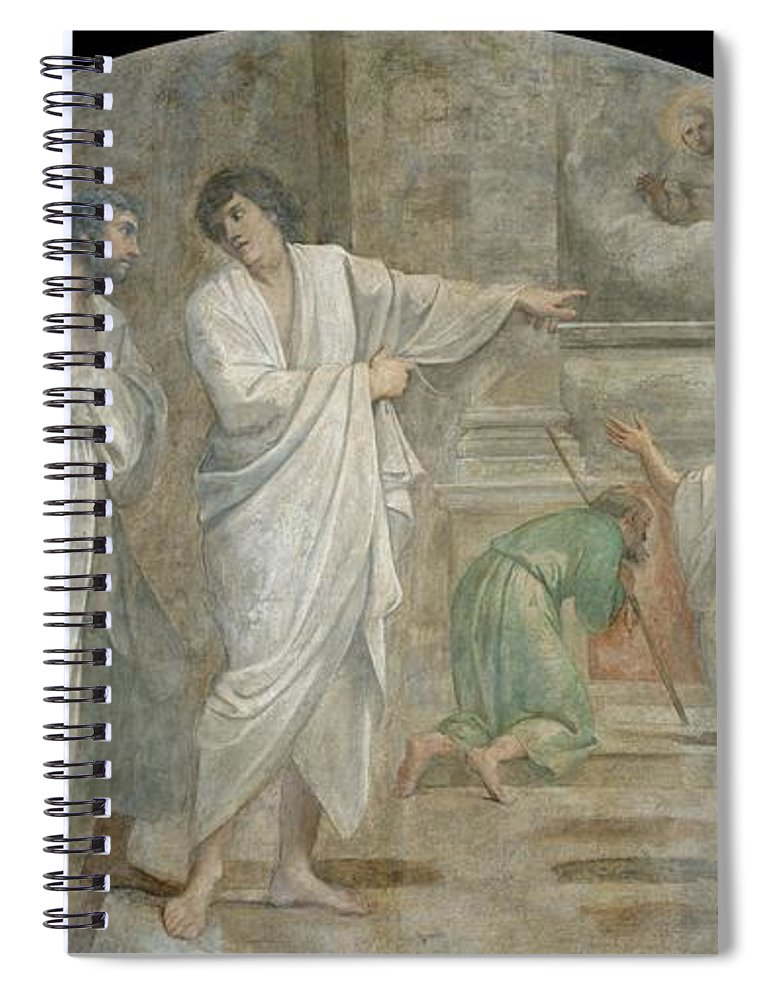 Annibale-carracci Spiral Notebook featuring the painting Apparition Of Saint Didacus Above His Sepulchre by Annibale Carracci