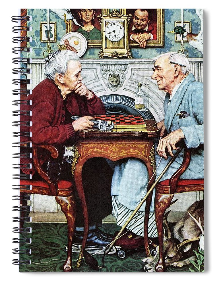 April Fools Spiral Notebook featuring the drawing April Fool, 1943 by Norman Rockwell