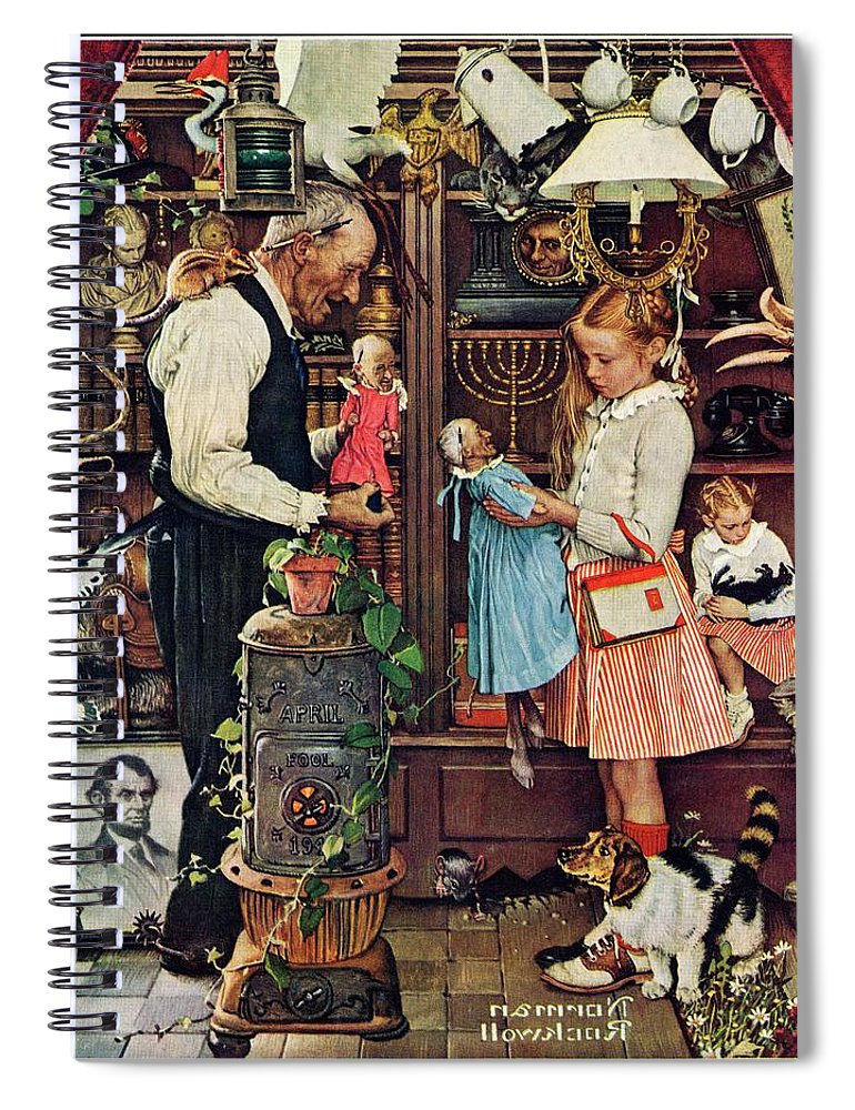 Antiques Spiral Notebook featuring the drawing April Fool, 1948 by Norman Rockwell