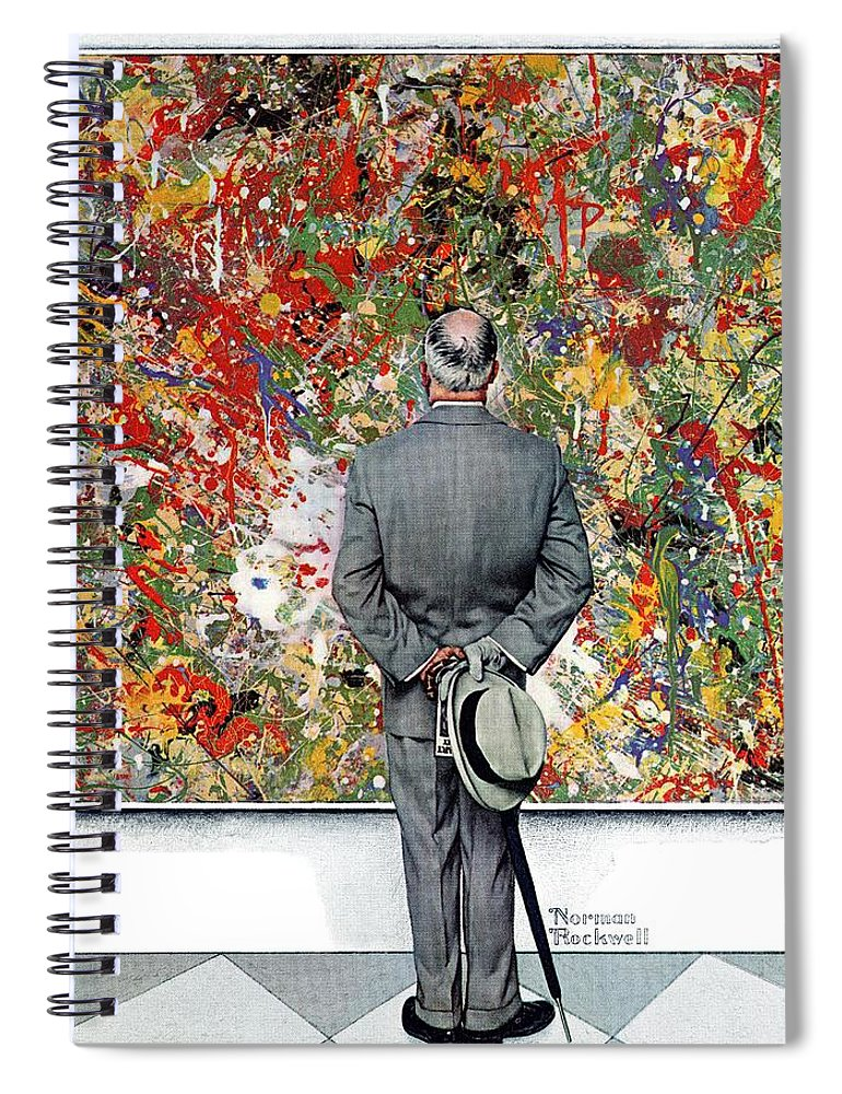 Art Spiral Notebook featuring the drawing Art Connoisseur by Norman Rockwell