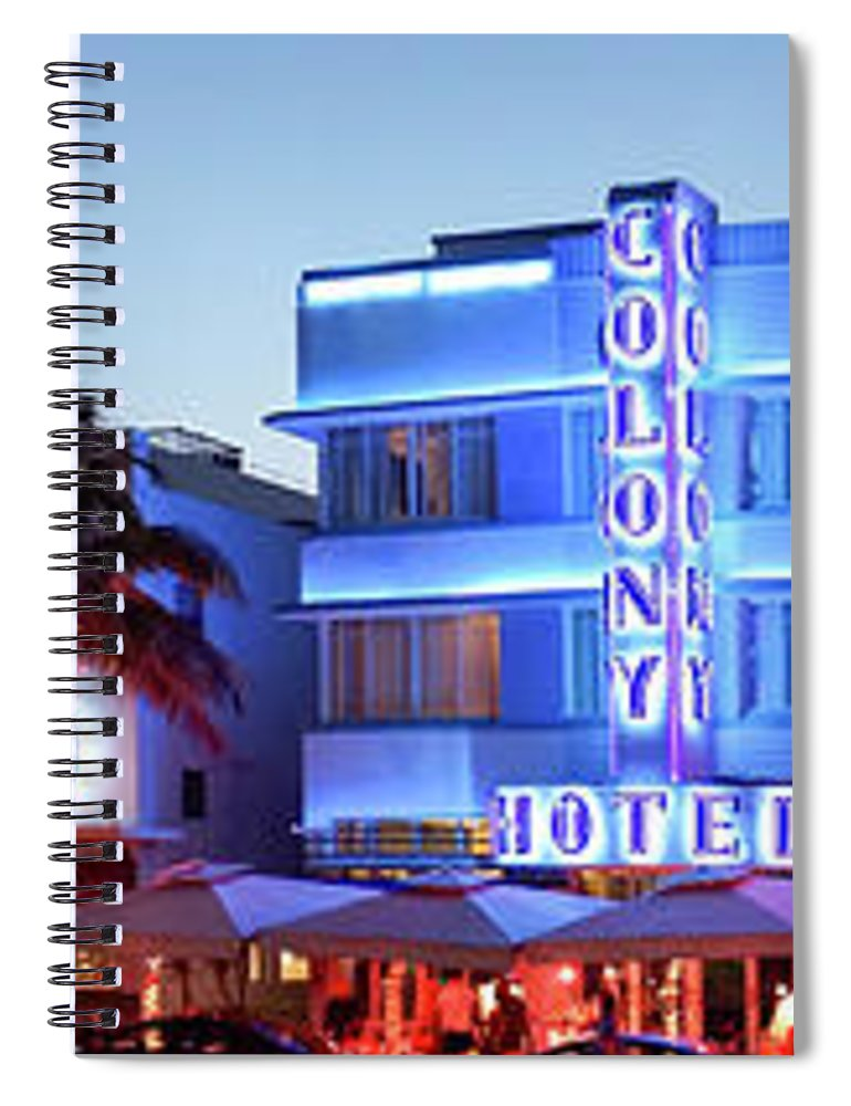 Panoramic Spiral Notebook featuring the photograph Art Deco Hotels On Ocean Drive At Dusk by Buena Vista Images