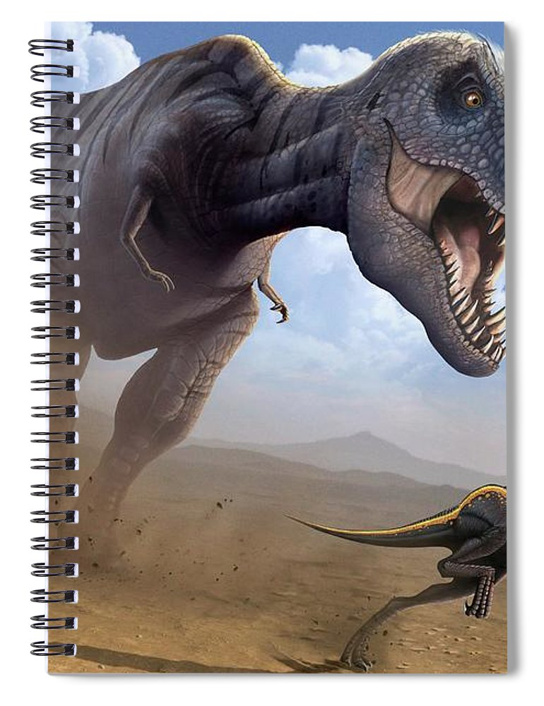 White Background Spiral Notebook featuring the digital art Artwork Of A Tyrannosaurus Rex Hunting by Science Photo Library - Mark Garlick