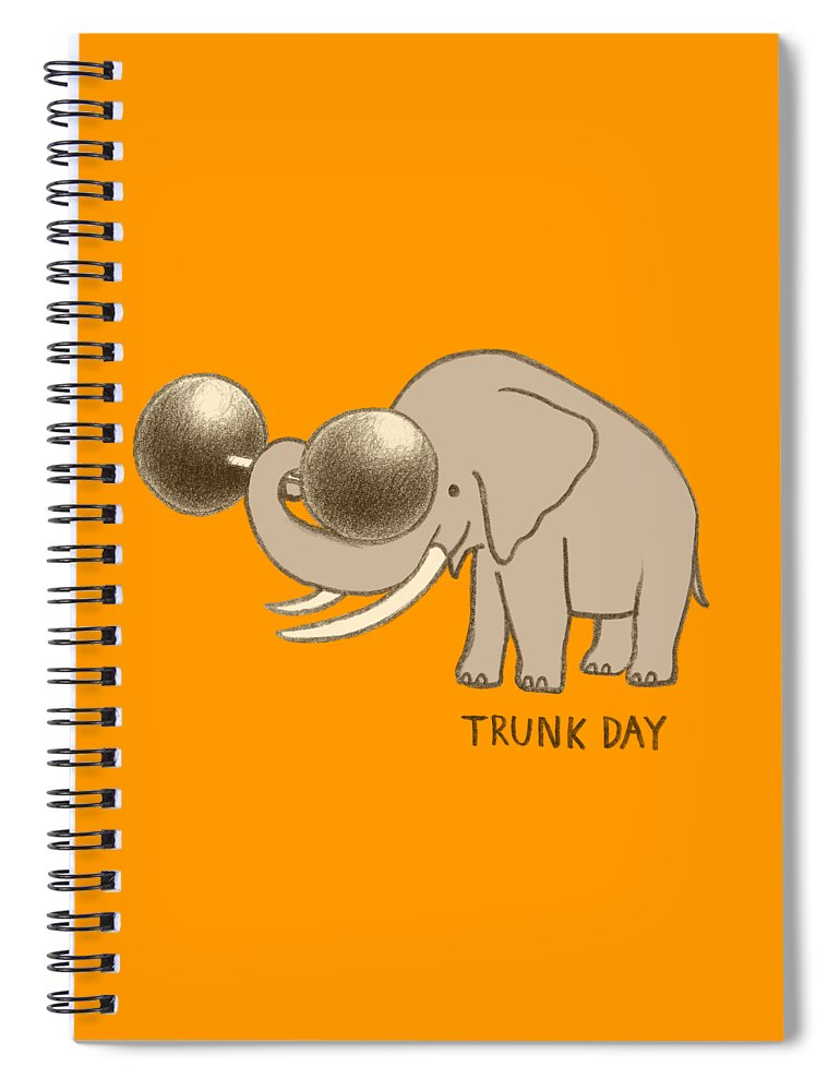 Elephant Spiral Notebook featuring the drawing Trunk Day by Eric Fan