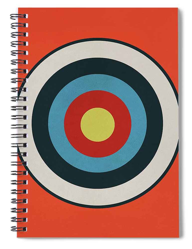 Target Spiral Notebook featuring the drawing Vintage Target - Orange by Eric Fan