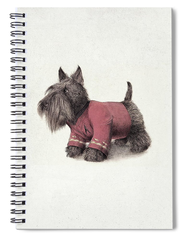 Dog Spiral Notebook featuring the drawing Scotty by Eric Fan
