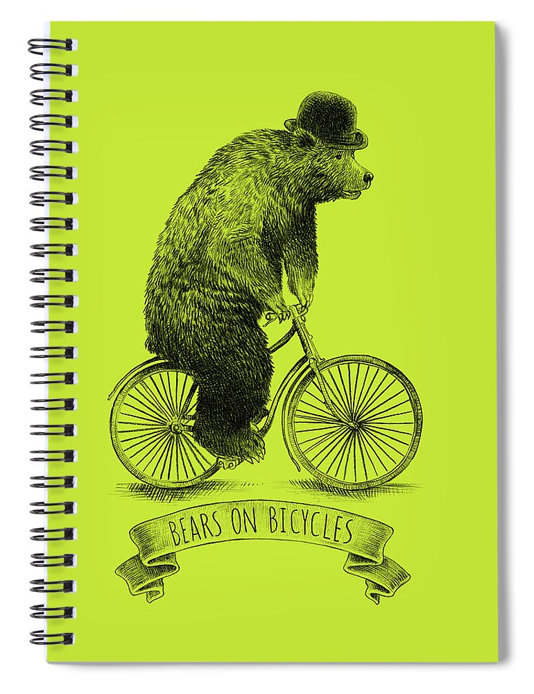 Bear Spiral Notebook featuring the drawing Bears On Bicycles - Lime by Eric Fan