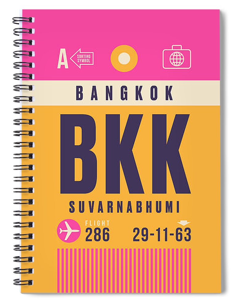 Airline Spiral Notebook featuring the digital art Retro Airline Luggage Tag - Bkk Bangkok Thailand by Organic Synthesis