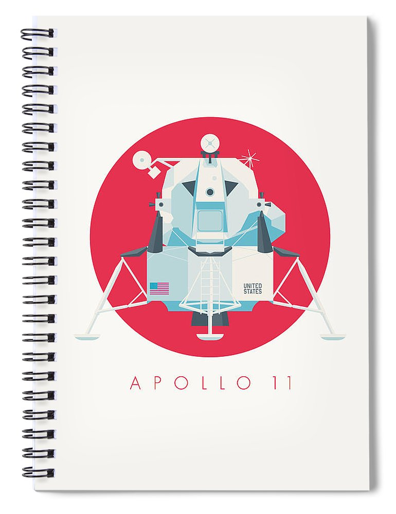 Apollo 11 Spiral Notebook featuring the digital art Apollo Lunar Module Lander Minimal - Text Crimson by Ivan Krpan