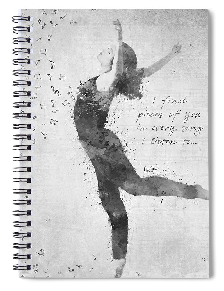 Music; Dancer; Dance; Ballet; Pieces Of You; Song; Lyrics; B&w; Black And White; Watercolor; Deanna Mondello; Spirit; Heart; Soul; Passion; Singer; Talented; Vibrant; Activism; Artwork; Digital Watercolor; Songwriter; Singing; Love; Motion; Grace; Movement; Fluidity; Rhythm; Memory; Woman; Female; Notes; Pointe; Nikki Smith; Remember; Adagio; Ballerina; Arabesque; Black; White Spiral Notebook featuring the digital art Beloved Deanna Radiating Love and Light in Black and White by Nikki Marie Smith