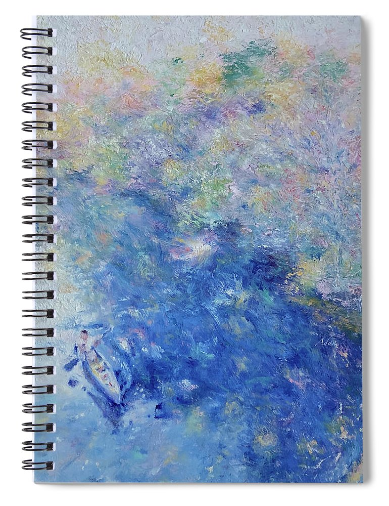 Impressionism Spiral Notebook featuring the painting Barton Springs Autumn Austin by Felipe Adan Lerma