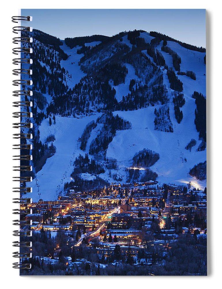 Aspen Spiral Notebook featuring the photograph Aspen Mountain, Winter by Walter Bibikow
